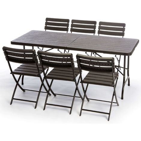 Tavoli Richiudibili Da Giardino.Set Tavolo E 6 Sedie Pieghevoli Da Giardino In Ferro Taddei