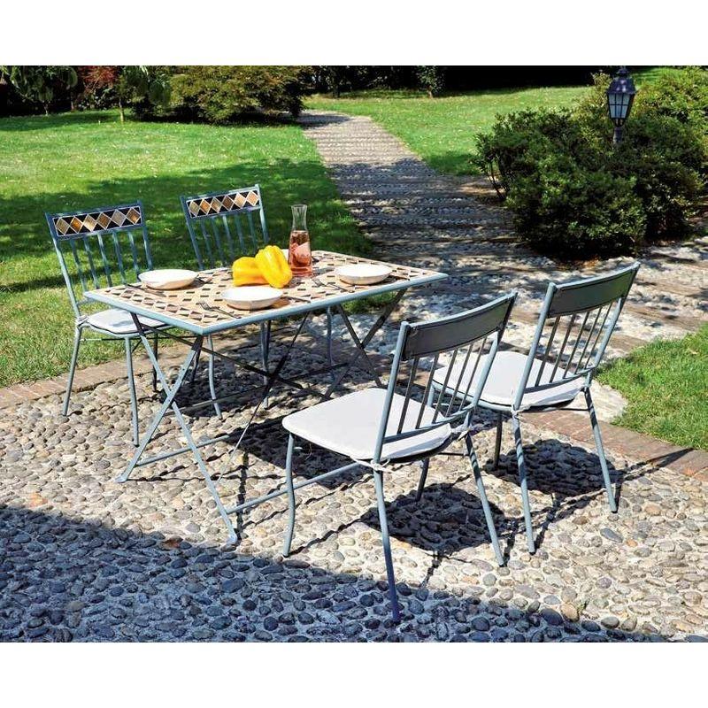 Set Tavolo E Sedie Da Giardino In Ferro E Mosaico Di Ceramica Con Cuscini