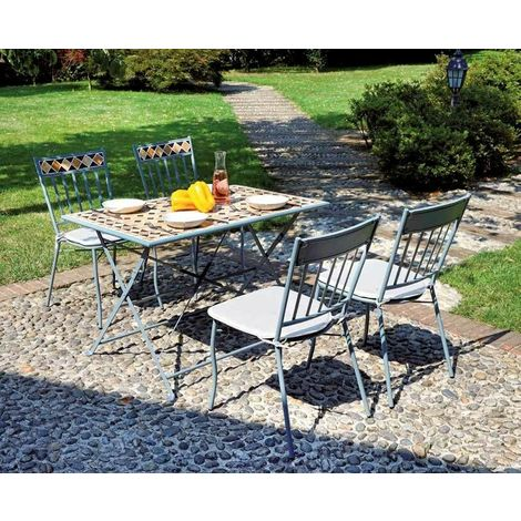 Tavoli Mosaico Da Giardino.Set Tavolo E Sedie Da Giardino In Ferro E Mosaico Di Ceramica Con