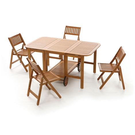 Tavoli E Sedie In Legno.Set Tavolo E Sedie Da Giardino In Legno Di Acacia Chiudibile A Mobiletto