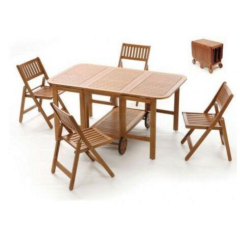 Tavolo Da Esterno In Legno Pieghevole.Set Tavolo E Sedie Da Giardino Legno Rettangolare Acacia