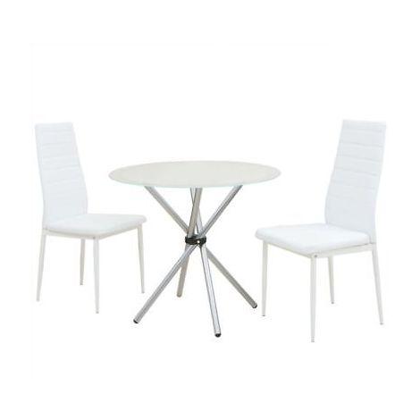 Tavolo In Vetro E Sedie.Set Tavolo E Sedie Da Pranzo Set 3 Pezzi Tavolo Con Piano In Vetro