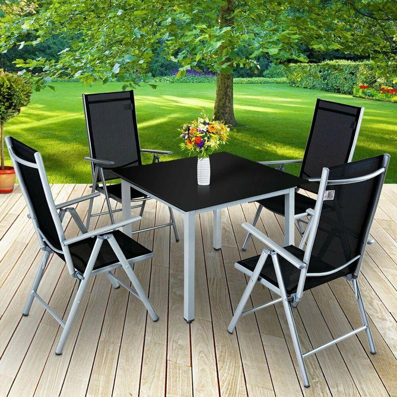 Set tavolo e sedie pieghevoli in alluminio da giardino ...