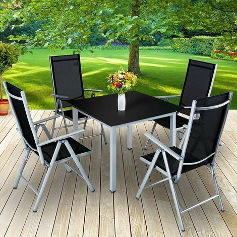 Set Tavolo e Sedie Pieghevoli in Alluminio da Giardino Arredo Esterni 2 Colori