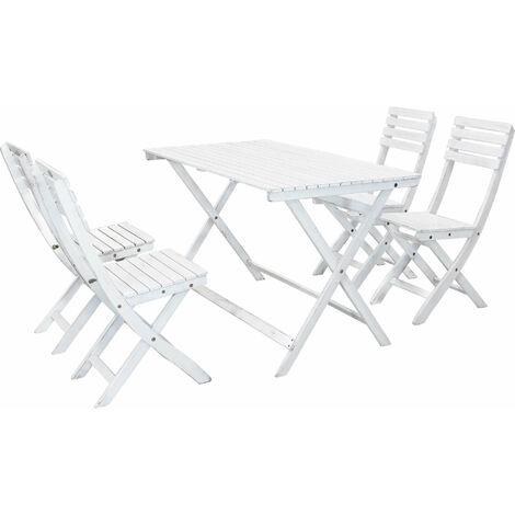 Tavolo Pieghevole Con 4 Sedie.Set Tavolo Giardino Pieghevole Rettangolare 120 X 70 Con 4 Sedie In Legno Di Acacia Bianco Per Esterno Giardino