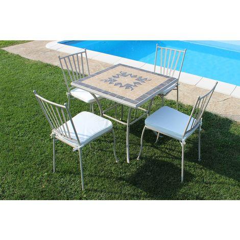 Tavolo Quadrato Con 4 Sedie.Set Tavolo Giardino Quadrato Fisso Con Piano In Mosaico 80 X 80 Con