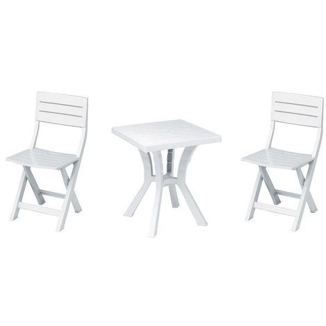 Tavolo Giardino Plastica Bianco.Set Tavolo Quadrato 2 Sedie In Resina Plastica Bianco Per