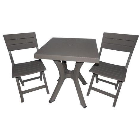 Tavoli E Sedie In Resina Per Esterno.Set Tavolo Quadrato 2 Sedie In Resina Tortora Arredamento Esterno