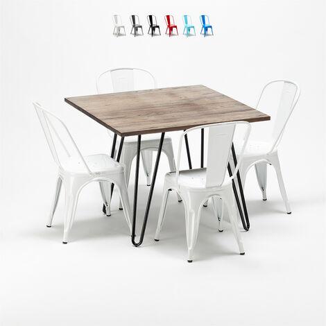 Set Tavolo Quadrato In Legno E Sedie In Metallo Design Tolix Industriale Bay Ridge Bianco S4ta80mlmnsm9bi