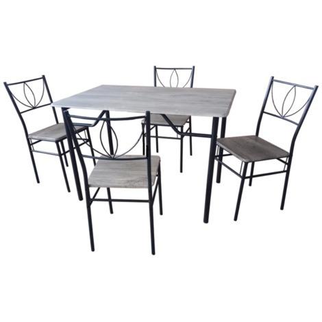 Set tavolo rettangolare con 4 sedie in legno grigio arredo for Sedie arredo casa