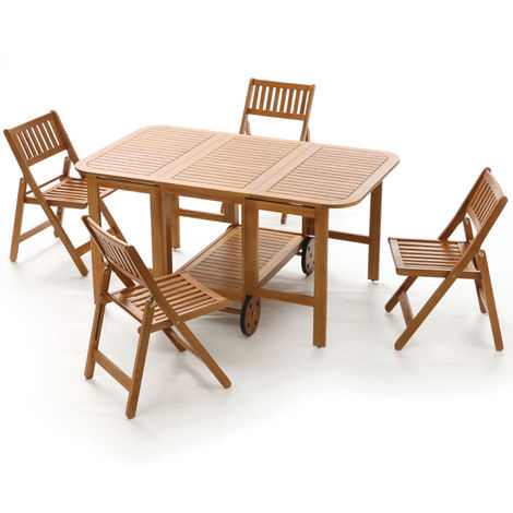Sedie Da Esterno Legno.Set Tavolo Richiudibile Con 4 Sedie Da Giardino In Legno Di Acacia
