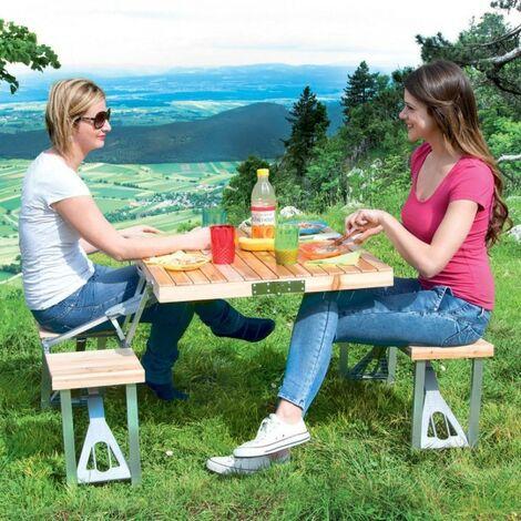 Tavoli Pieghevoli Pic Nic.Set Tavolo Tavolino Pieghevole Pic Nic Campeggio Alluminio Con 4 Sgabelli Legno