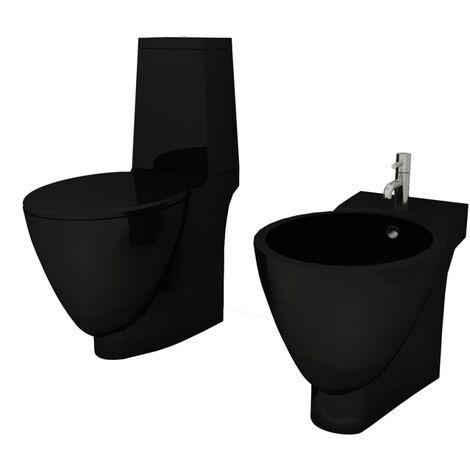 Set Toilette e Bidè in Ceramica Nero