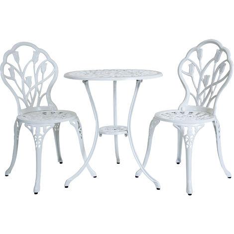 Set Tavolo E 2 Sedie Da Esterno.Set Tulipano Da Caffe Esterno Alluminio Fuso 3 Pezzi Tavolo E 2 Sedie Bianco