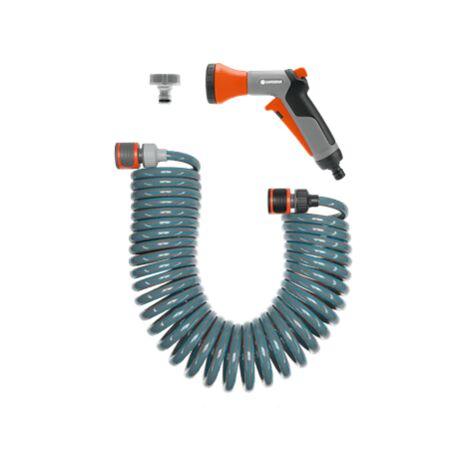 Set tuyau darrosage spiralé 1/4 pouces GARDENA 04647-20 10 m gris, orange
