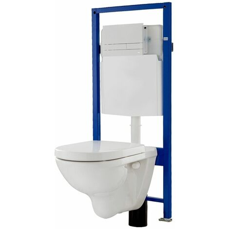 Set WC complet suspendu avec abattant bâti-support avec plaque de commande