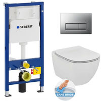 Set WC Geberit duofix UP100 + Toilet bowl Ideal Standard Tesi Aquablade + Flush Plate (SETUP100-AQUA9)