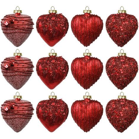 Christbaumkugeln Set Rot.Set Weihnachtskugeln In Herzform 12 Stück 8cm 4 Sorten Mit Perlen