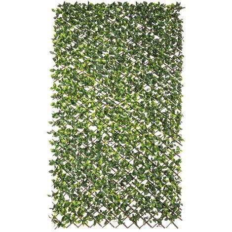 Seto artificial Natural extensible de hiedra verde con celosía de mimbre de 100x200 cm