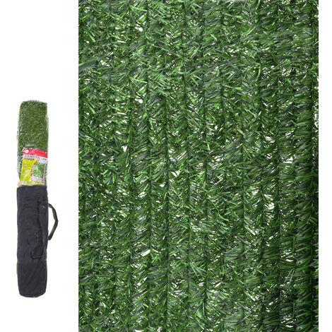 Seto artificial ocultación verde de material plástico de 3x1 metros