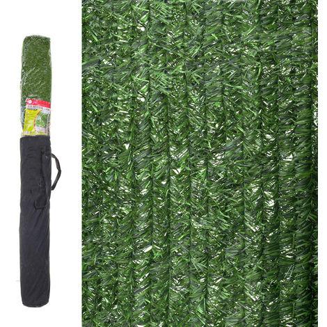 Seto artificial ocultación verde de material plástico de 3x1,5 metros