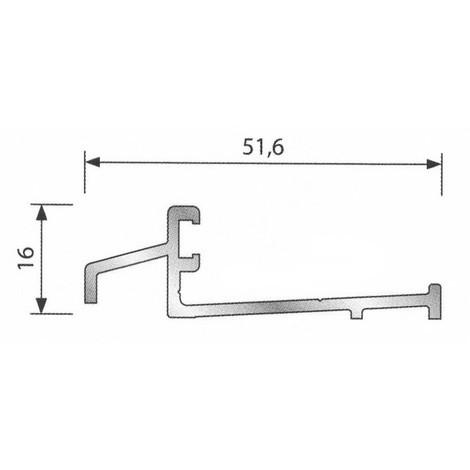 Seuil pour bois porte d'entrée BILCOCQ - 16 x 51.6 mm - anodisé incolore - SPR-NA
