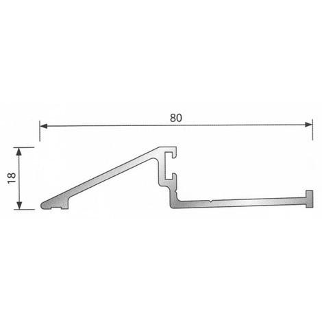 Seuil pour bois porte d'entrée BILCOCQ - 18 x 80 mm - aluminium brut - MRS2000