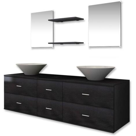 Seven Piece Bathroom Furniture and Basin Set Black