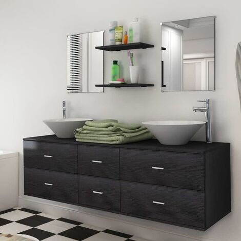 Seven Piece Bathroom Furniture and Basin Set Black - Black