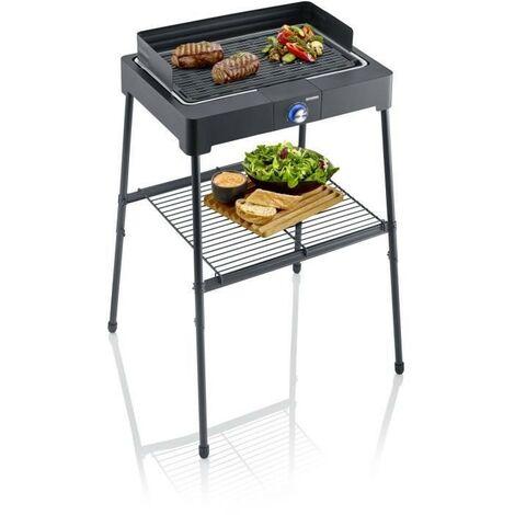 SEVERIN PG8563 Barbecue sur pieds électrique - 2200W - Gril en fonte d'aluminium - Bac a eau réducteur de fumée et d'odeurs - Noir