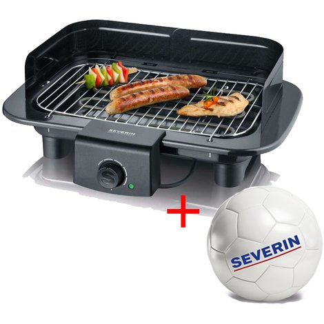 Severin PG9710 BBQ Electric Barbeque Grill 2300W Black with FREE Football