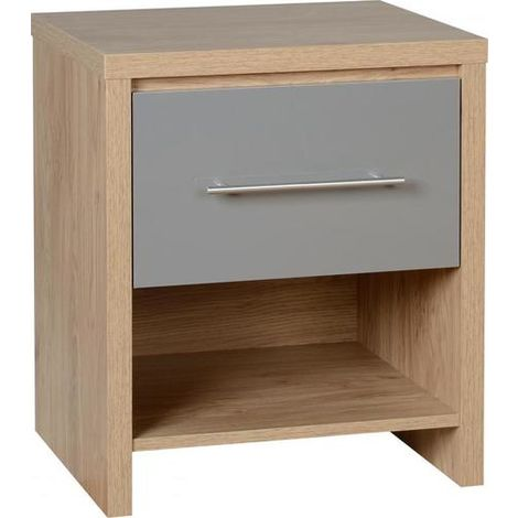 Seville 1 Drawer Bedside Cabinet - Light Oak Effect Veneer/grey Gloss