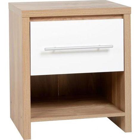 Seville 1 Drawer Bedside Cabinet - Light Oak Effect Veneer/white Gloss