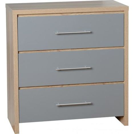 Seville 3 Drawer Chest - Light Oak Effect Veneer/grey Gloss