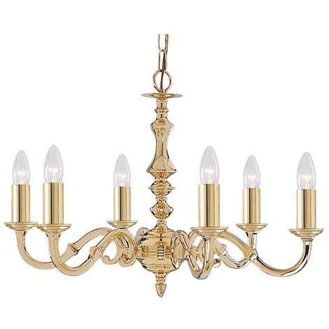 SEVILLE 6 LIGHT POLISHED BRASS FITTING ASSEMBLED CANDLE NO GLASS