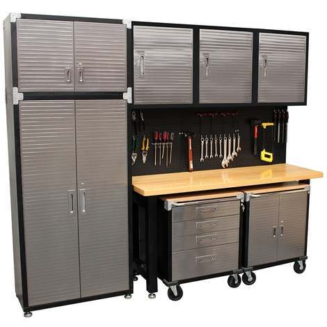Seville 9 Piece Garage Storage System With Workbench Cabinet And Wall