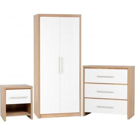 Seville Bedroom Set - Light Oak Effect Veneer/white Gloss