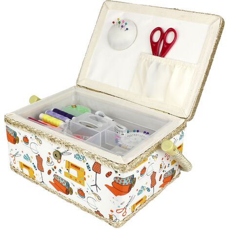Sewing Kit, Sewing Basket, 24 x 17.5 x 13 cm (9.45 x 6.89 x 5.12 inch), Orange sewing kit, Size: 24 x 17.5 x 13 cm (9.5 x 6.9 x 5.1 inch)