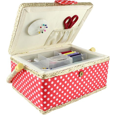Sewing Kit, Sewing Basket, 24 x 17.5 x 13 cm (9.45 x 6.89 x 5.12 inch), White polka-dots / Pink, Size: 24 x 17.5 x 13 cm (9.5 x 6.9 x 5.1 inch)