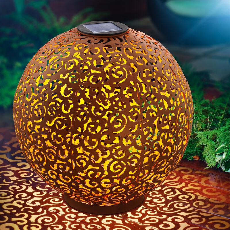 Sfera solare in metallo Samira da 30cm color ruggine. Decorazione da giardino. Lampada solare a LED esotec 102377