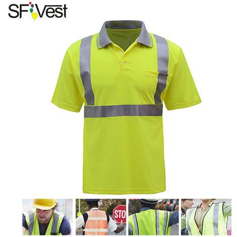 Sfvest 4006 refleja camisa Seguridad en el Trabajo ropa de trabajo en un corto de la manga de la camiseta De reflexivo de la seguridad y transpirable, Xl