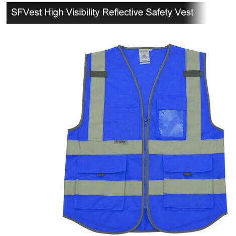 SFVest Chaleco reflectante de seguridad de alta visibilidad Chaleco reflectante Bolsillos multiples Ropa de trabajo Ropa de trabajo de seguridad Dia y noche Motocicleta Ciclismo Advertencia Chaleco de seguridad,Azul