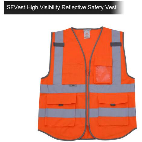 SFVest Chaleco reflectante de seguridad de alta visibilidad Chaleco reflectante Bolsillos multiples Ropa de trabajo Ropa de trabajo de seguridad Dia y noche Motocicleta Ciclismo Advertencia Chaleco de seguridad,naranja