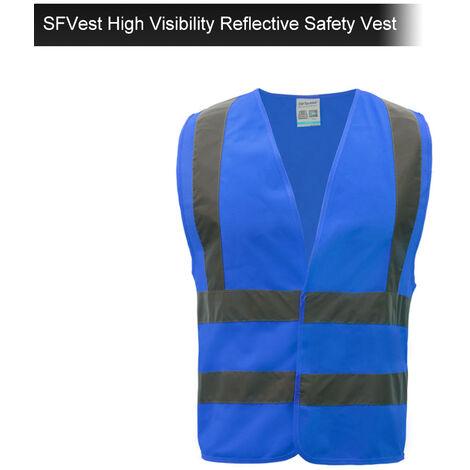 SFVest Chaleco reflectante de seguridad de alta visibilidad Chaleco reflectante Ropa de trabajo Ropa de trabajo de seguridad Dia y noche Motocicleta Ciclismo Advertencia Chaleco de seguridad