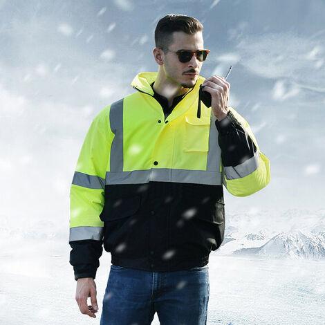 Sfvest Haute Visibilite Manteau Reflechissant Coton Veste Impermeable Pluie Lumineuse Securite Exterieure Trafic Randonnee D'Equitation Avertissement De Securite D'Hiver Veste En Coton, L
