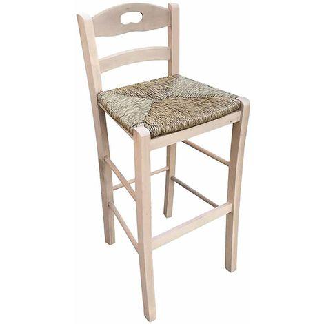 Sgabello con manico nello schienale h cm 66 grezzo con seduta in paglia