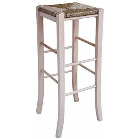 Sgabello con seduta quadrata paglia altezza 80 CM da verniciare piedi sciabola