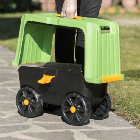 Sgabello Contenitore Carrello Multiuso Magic Green 4 in 1 con ruote 59x23x30H cm