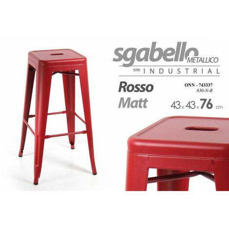Milani Home s.r.l.s cm 43 x 43 x 76 h Set di 4 Sgabelli da Bar albergo Hotel Sedia Cucina con Poggiapiedi Stile Industrial di Design Contemporaneo in Metallo Verniciato