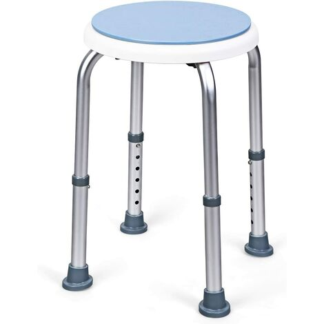 Sgabello per Doccia Girevole a 360°, Regolazione in Altezza, Gambe in Alluminio Resistenti alla Ruggine, Stabile e Antiscivolo, Sedile Comodo per Anziani e Disabili